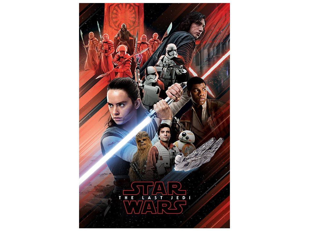 PLAKÁT 61 x 91,5 cm|STAR WARS VIII  LAST JEDI|RED MONTAGE|C