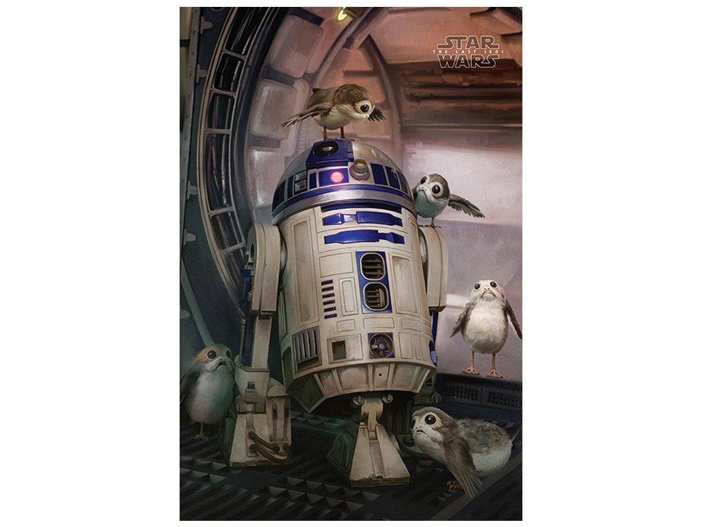PLAKÁT 61 x 91,5 cm|STAR WARS VIII  R2-D2 & PORGS|THE LAST JEDI