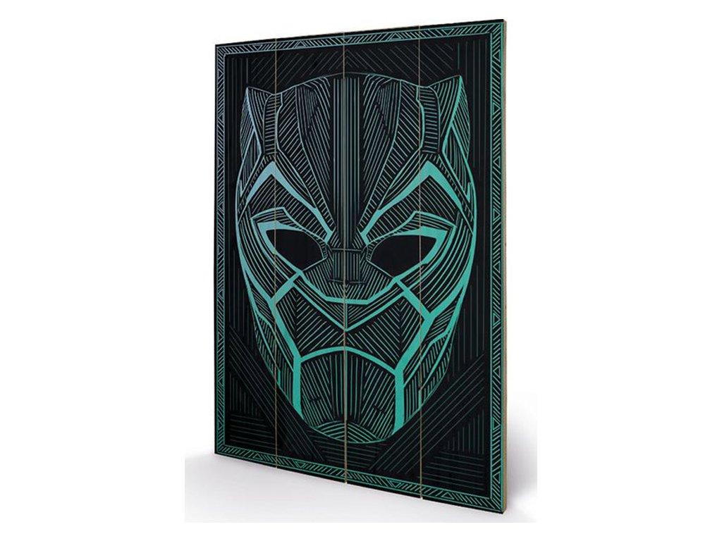 OBRAZ|MALBA NA DŘEVĚ 40 cm x 59 cm  BLACK PANTHER|TRIBAL MASK