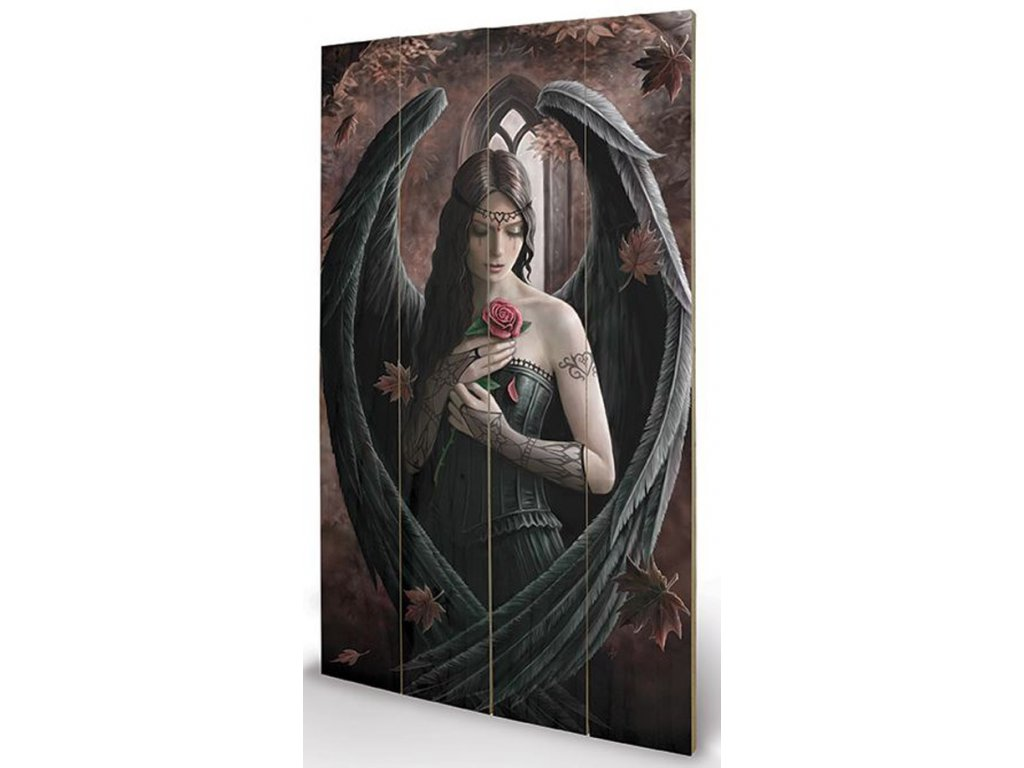 OBRAZ|MALBA NA DŘEVĚ 45 cm x 76 cm  ANNE STOKES|ANGEL ROSE