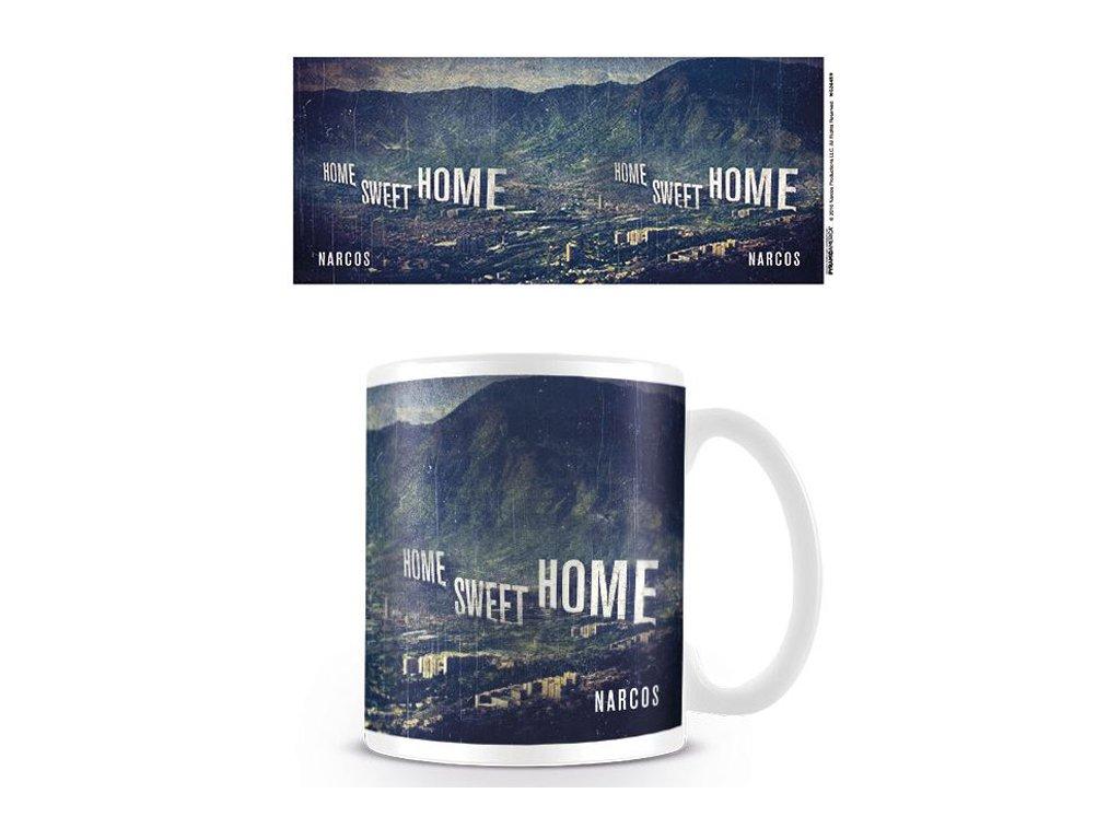 HRNEK KERAMICKÝ|NARCOS  315 ml|HOME SWEET HOME|BÍLÝ