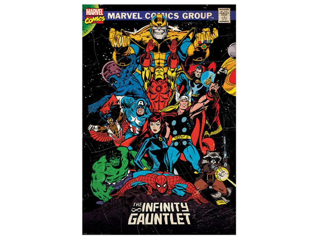 PLAKÁT 61 x 91,5 cm|MARVEL  RETRO|THE INFINITY GAUNTLET