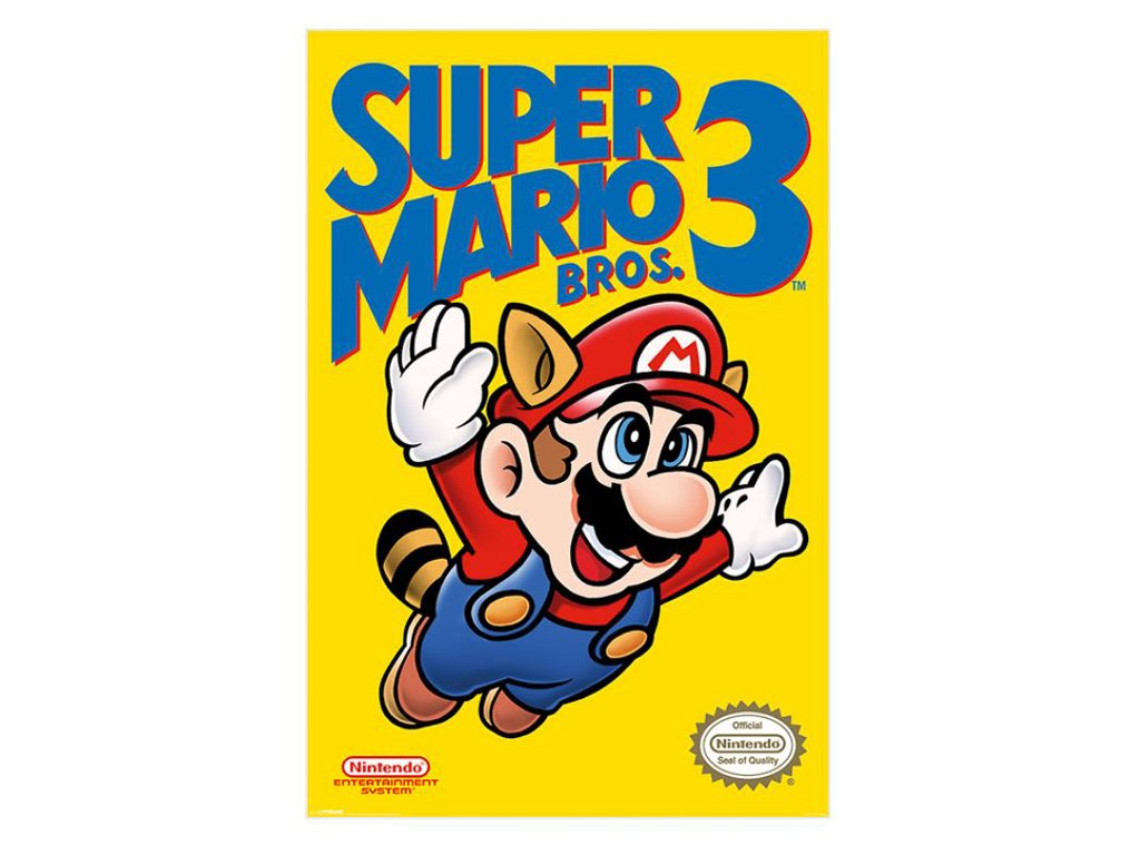 PLAKÁT 61 x 91,5 cm|SUPER MARIO 3.  NES COVER