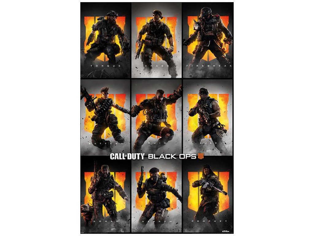 PLAKÁT 61 x 91,5 cm CALL OF DUTY  BLACK OPS 4 CHARACTERS