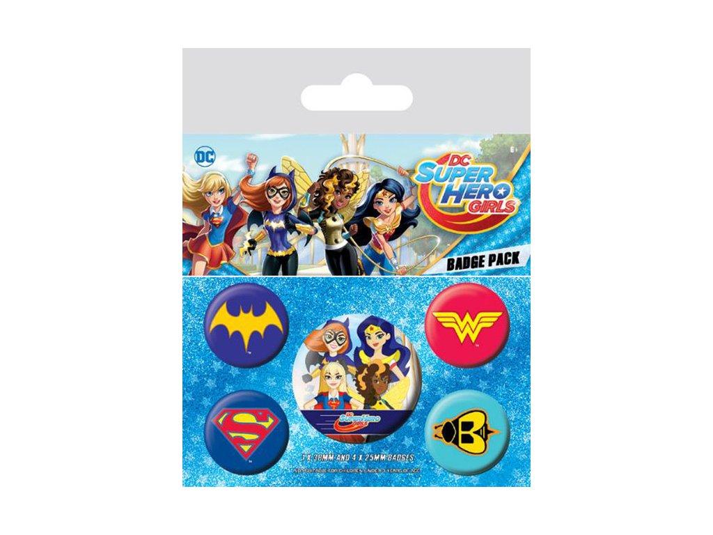 PLACKY|ODZNAKY|SET 5 KUSŮ|DC COMICS  DC SUPER HERO GIRL|(25 mm,38 mm)