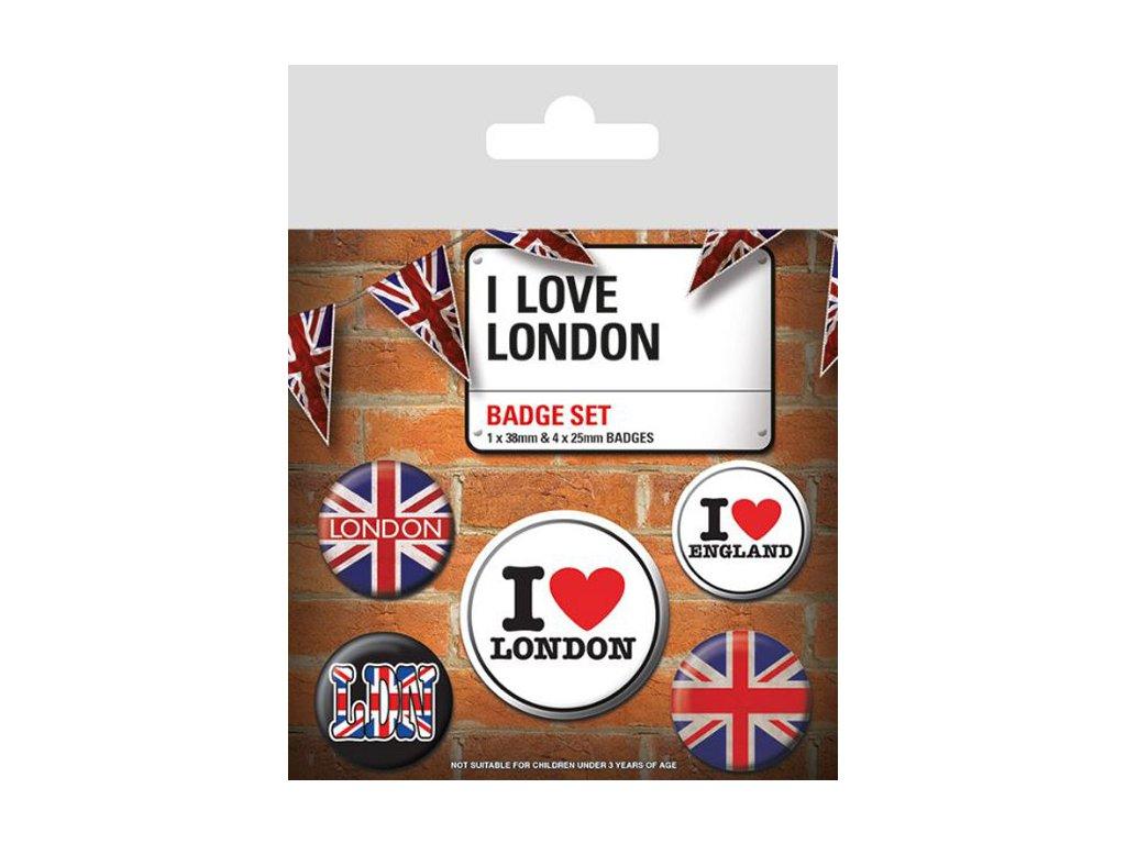 PLACKY|ODZNAKY|SET 5 KUSŮ|  I LOVE LONDON|(25 mm,38 mm)