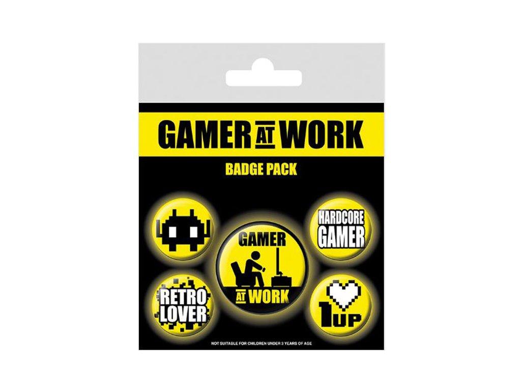 PLACKY|ODZNAKY|SET 5 KUSŮ  GAMING|GAMER AT WORK|(25 mm,38 mm)