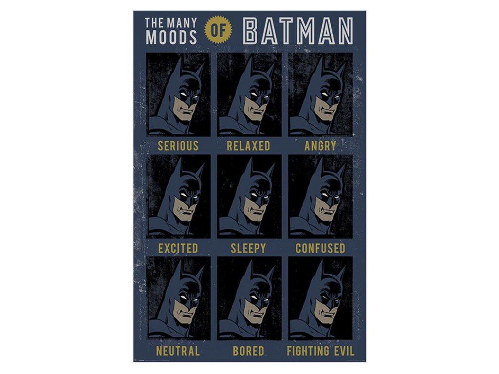 PLAKÁT 61 x 91,5 cm DC COMICS  MANY MOODS OF BATMAN