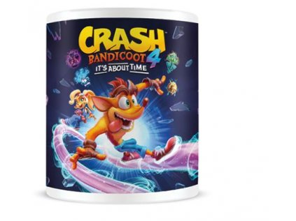 HRNEK KERAMICKÝ|CRASH BANDICOOT 4  315 ml|IT´S ABOUT TIME|BÍLÝ