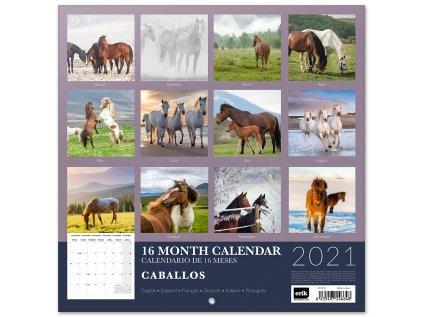 KALENDÁŘ 2021|ZVÍŘATA  HORSES (30 x 30|60 cm) SQ 16M