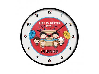 HODINY NÁSTĚNNÉ|FRIENDS  PRŮMĚR 25 cm|LIFE IS BETTER|KULATÉ