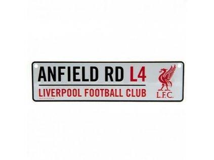 CEDULE NA ZEĎ|LIVERPOOL FC  ANFIELD|BÍLÁ|26 x 7 cm