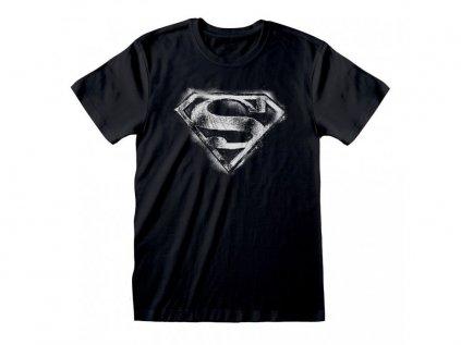 TRIČKO PÁNSKÉ|DC COMICS|SUPERMAN  DISTRESSED LOGO|ČERNÉ|