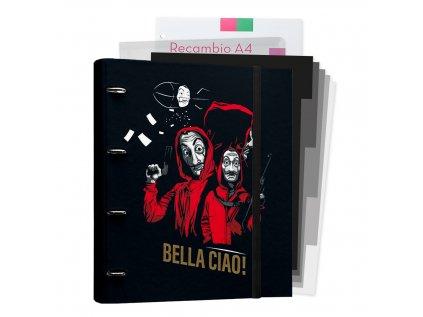 KROUŽKOVÝ POŘADAČ|LA CASA DE PAPEL  BELLA CIAO!|SLOŽKY|26 x 32 cm