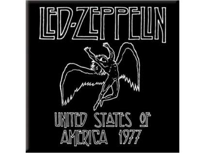 MAGNET KOVOVÝ 7,6 x 7,6 cm  LED ZEPPELIN|1977 USA TOUR