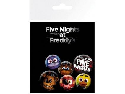 PLACKY|ODZNAKY|SET 6 KUSŮ  FIVE NIGHTS AT FREDDYS