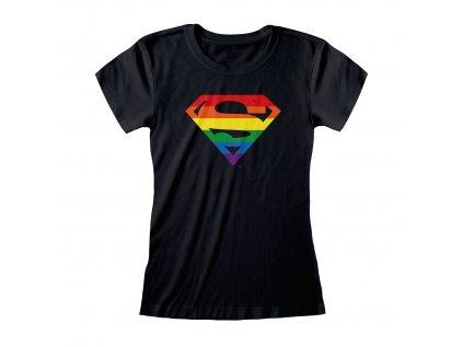 TRIČKO DÁMSKÉ|DC COMICS  SUPERMAN|LOGO PRIDE|ČERNÉ