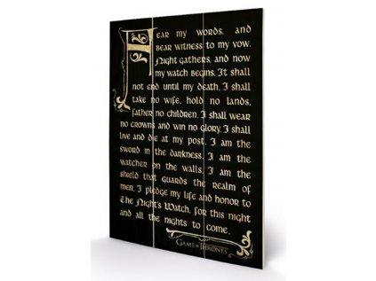 OBRAZ|MALBA NA DŘEVĚ 20 x 29,5 cm  GAME OF THRONES|NIGHT´S WATCH OATH