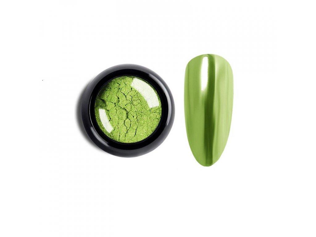 1021 cutenails lestici pigment chromatic mirror effect light green