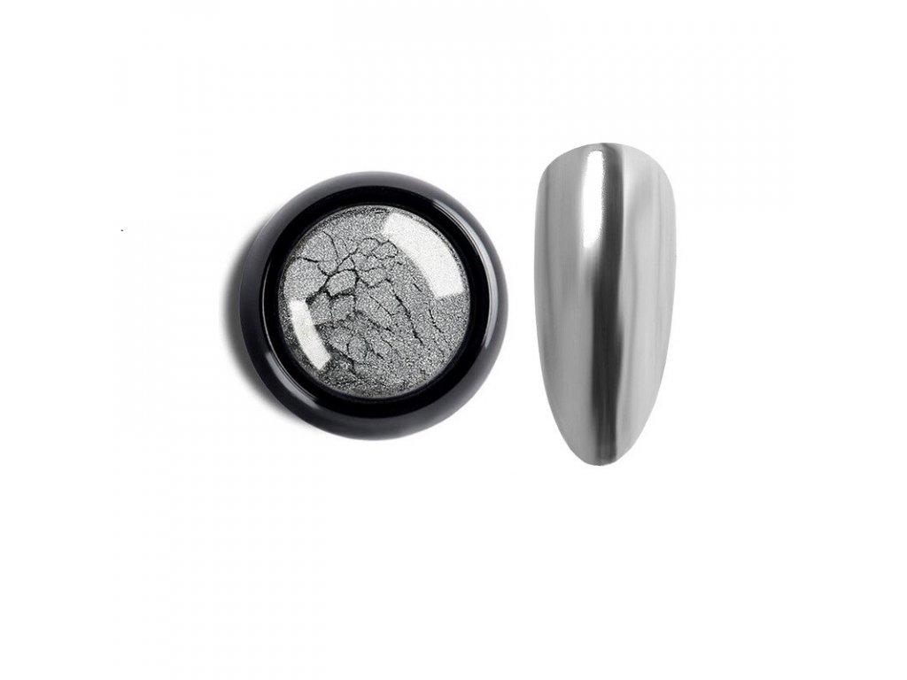 1042 cutenails lestici pigment chromatic mirror effect dark silver