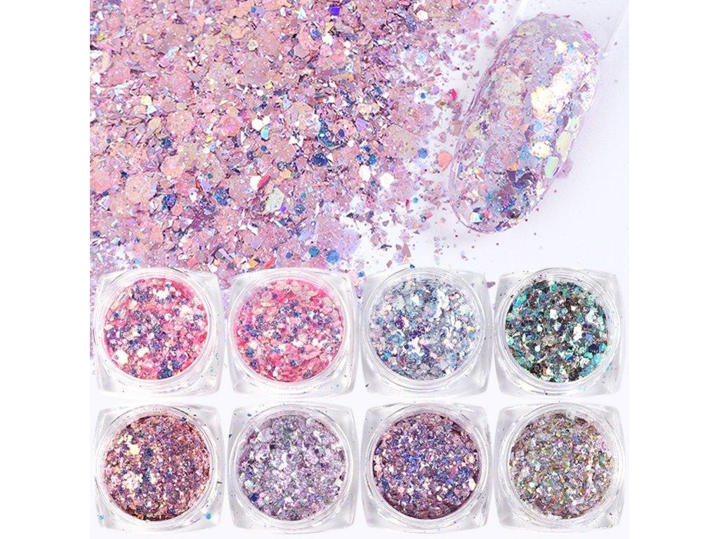 1156 full beauty dekorace 8 ks mermaid glitter