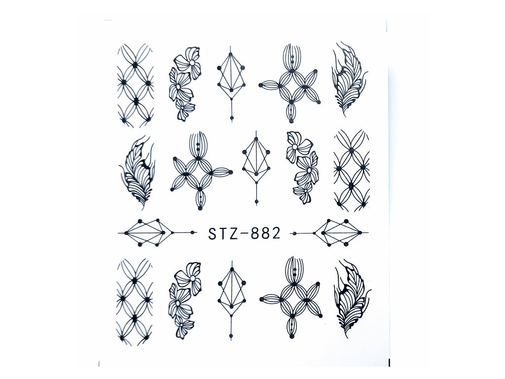 1468 cutenails vodolepky black ornament