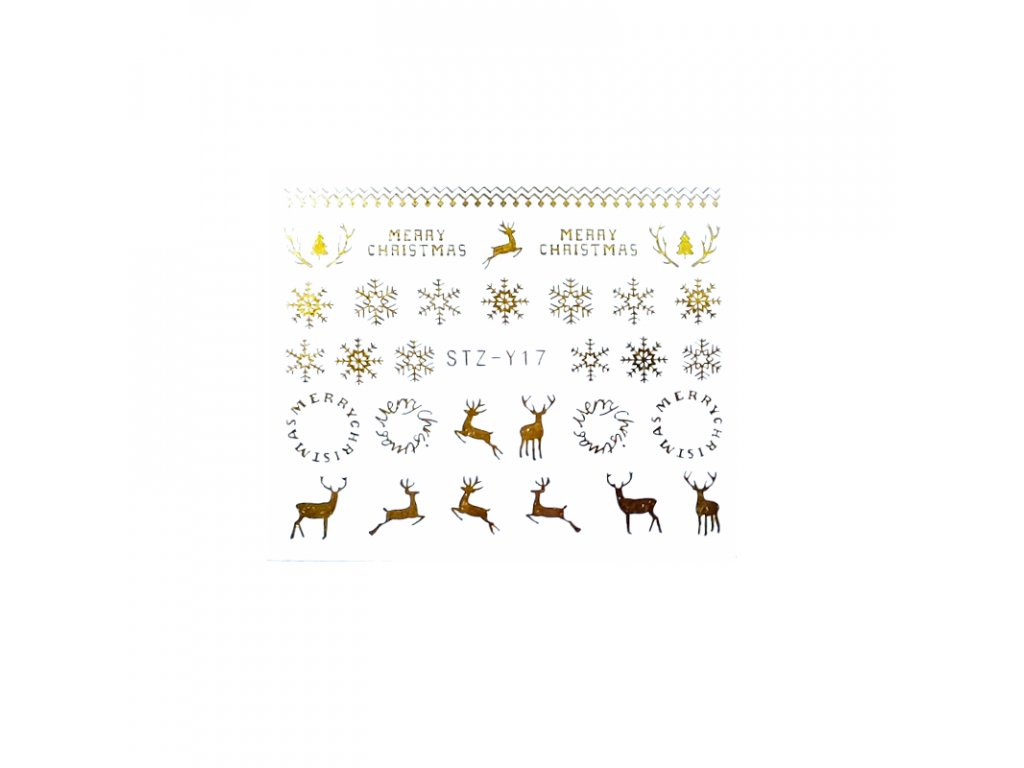 1600 cutenails vodolepky vlocky s jeleny stribrne zlate