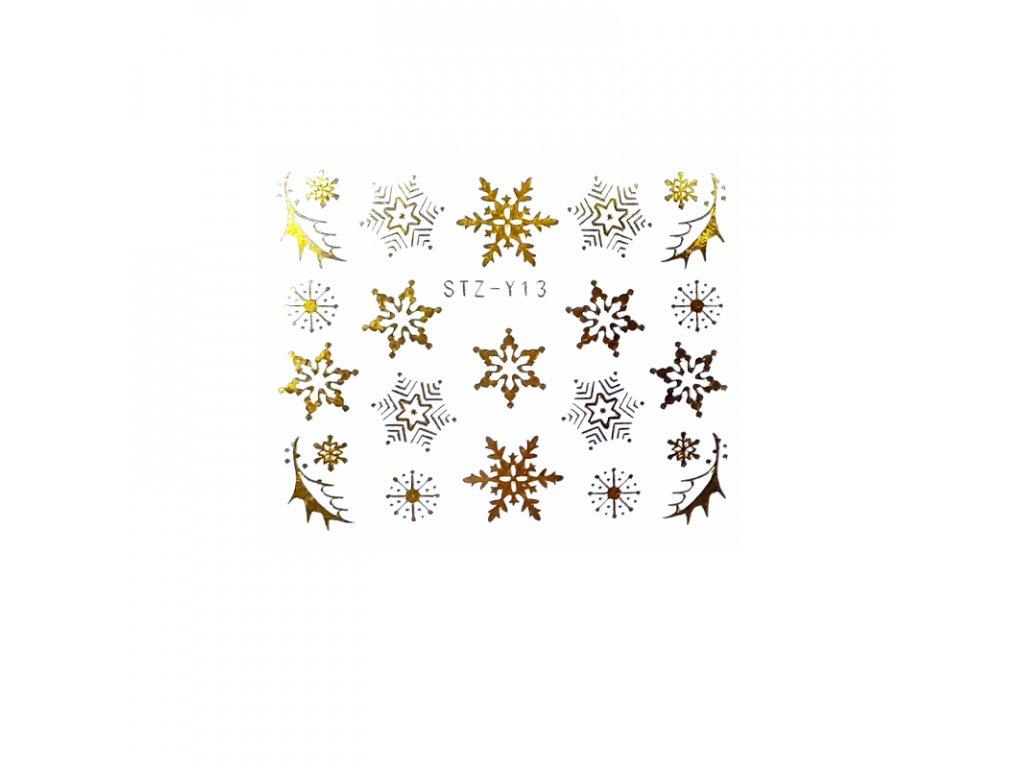 1609 cutenails vodolepky kouzelne vlocky stribrne zlate
