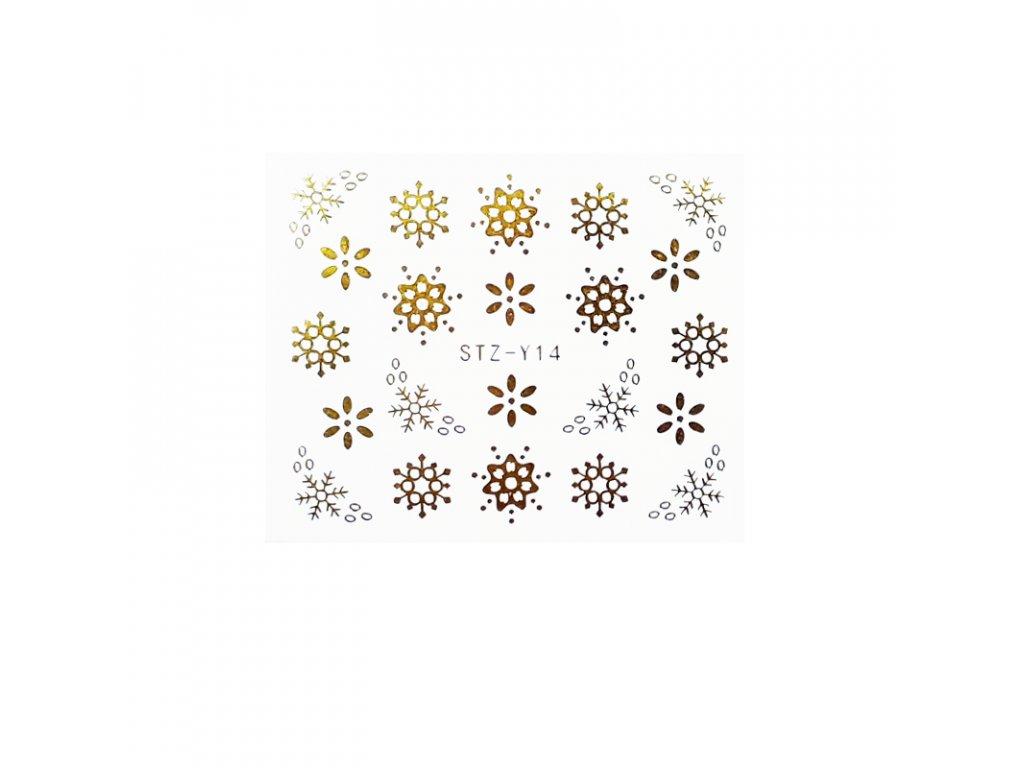 1612 cutenails vodolepky kvetinove vlocky stribrne zlate