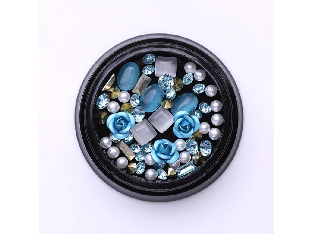 1726 cutenails luxusni nehtova bizuterie modre ruze