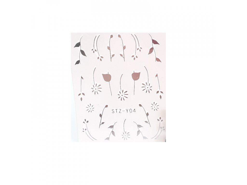 832 cutenails vodolepky silver flora