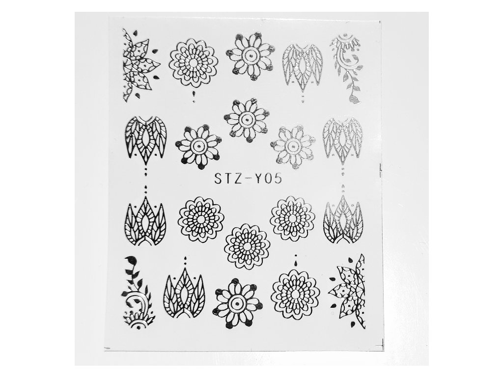 853 cutenails vodolepky silver flower ornament