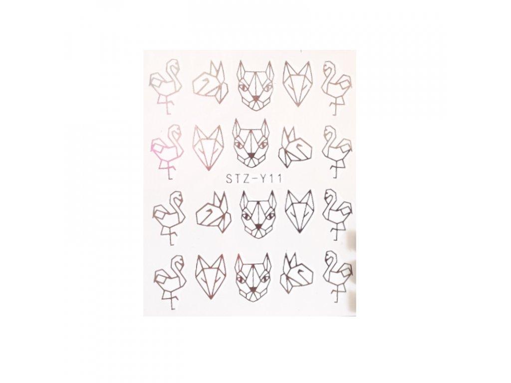 859 cutenails vodolepky silver modern animal