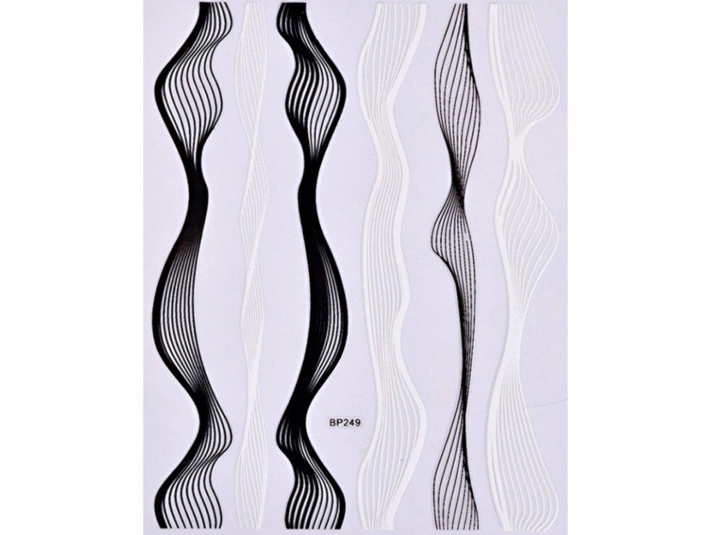 871 cutenails samolepky black white strips