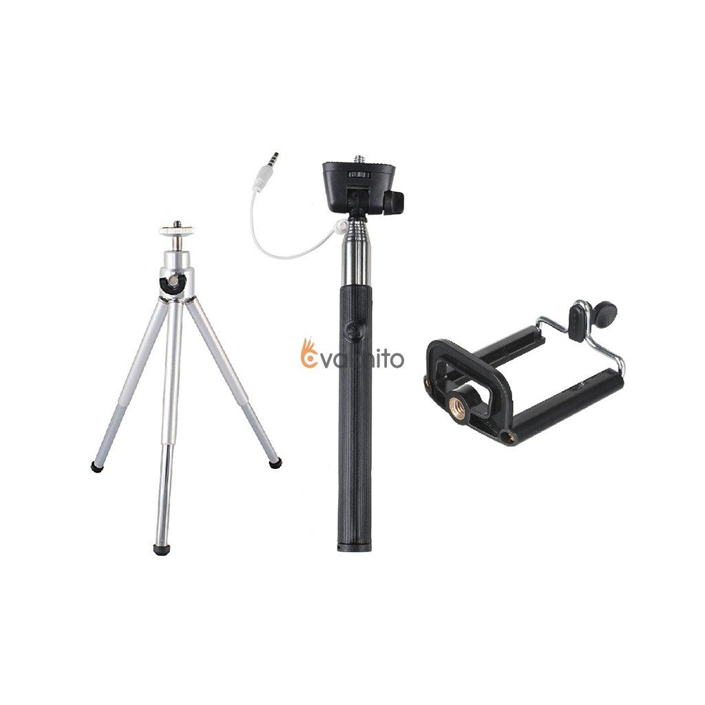Selfie set 3v1: monopod + mini statív (do 0,8 kg) + statívový držiak na telefón