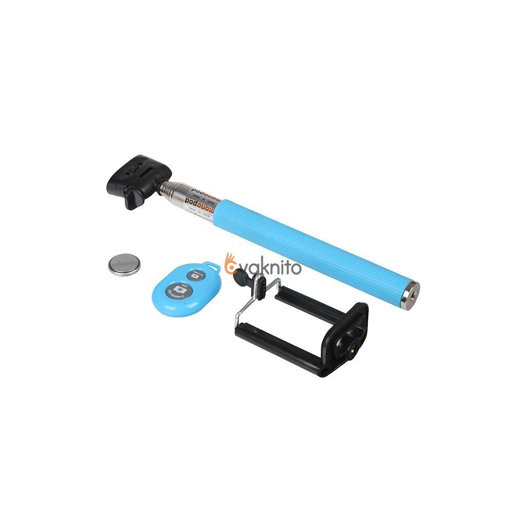 Selfie tyč s káblom, držiakom telefónu a diaľkovým ovládaním Bluetooth (modrá)