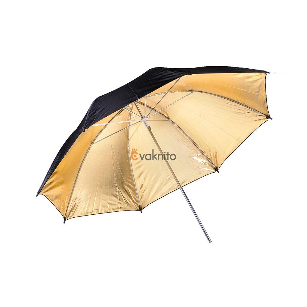 Reflexný dáždnik čierno / zlatý 101cm BRESSER SM-01