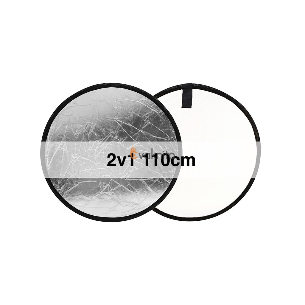 Skladacia odrazová doska strieborná / biela 110cm okrúhla