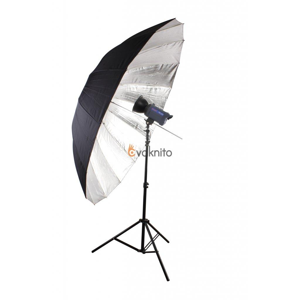 Dáždnik strieborno-čierny 185cm, sklolaminát