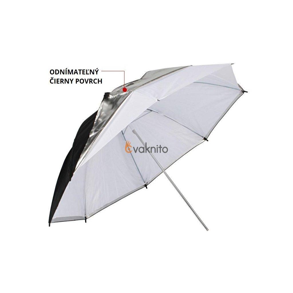 Strieborný dáždnik 3v1 s odnímateľným čiernym povrchom 110 cm