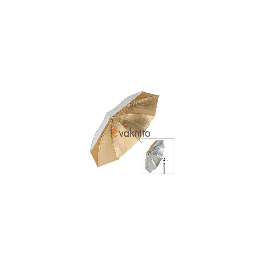 Štúdiový dáždnik 2v1 strieborno/zlatý 110cm