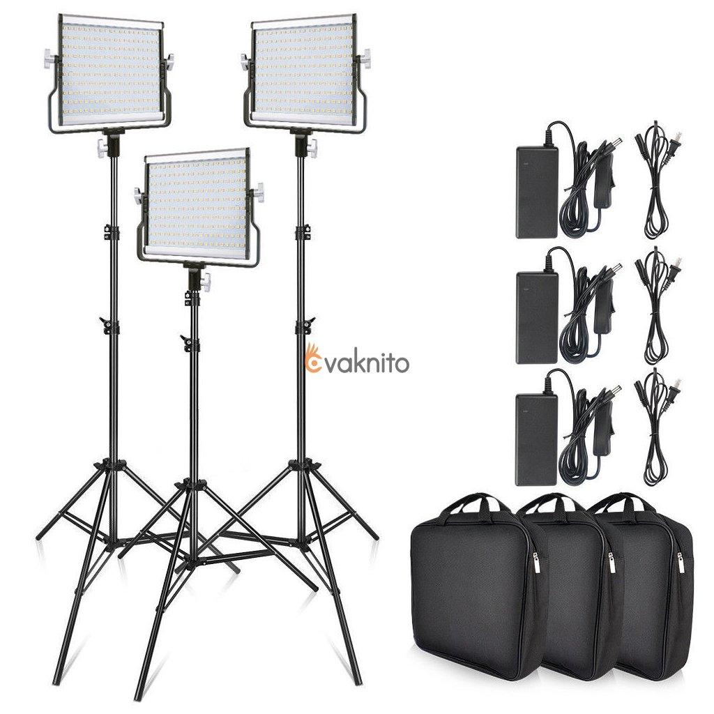 3X LED video svetlá 3200K-5500K LED
