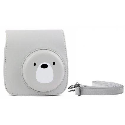 Retro puzdro pre fotoaparáty INSTAX Mini 8 9 - farba šedá s medvedíkom