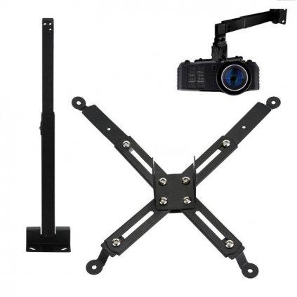 Stropný oceľový držiak projektora 14 - 65 cm (čierny)