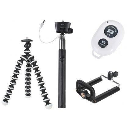 Selfie set 4v1: monopod + mini statív + statívový držiak na telefón + diaľkové ovládanie s bluetoothom
