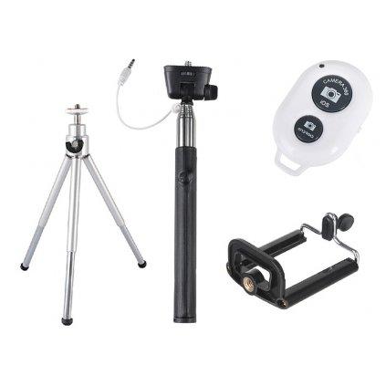 Selfie set 4v1: monopod + mini statív (do 0,8 kg) + statívový držiak na telefón + diaľkové ovládanie s bluetoothom