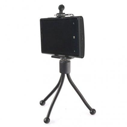 Čierny flexi mini statív a statívový držiak na telefón