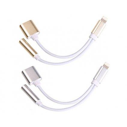 Adaptér mini JACK + nabíjanie Apple Lightning pre iPhone, iPad, iPod - strieborný