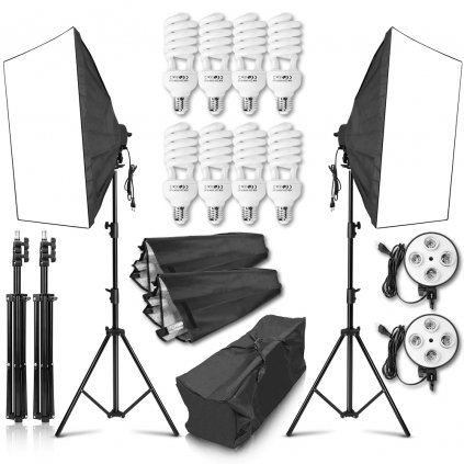 Photography 50x70CM Softbox Lighting Kit 4 Socket Lamp Holder 8Pcs 45W Bulb 2m Light Stand Camera