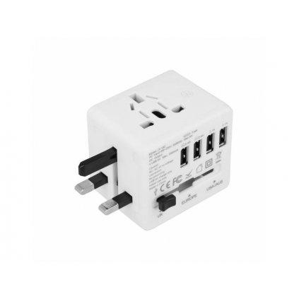 Cestovný adaptér s USB Superbee JY-192 - biely